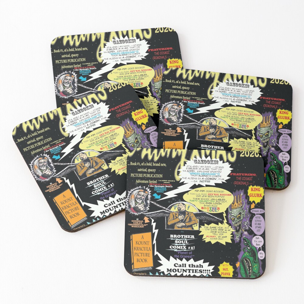 "BROTHER SOUL COMIX #1 [Actually upcoming, 2021's 2nd book] -""Planet of the Grapes"" SNEAK PREVIEW POSTER Coasters (Set of 4)"