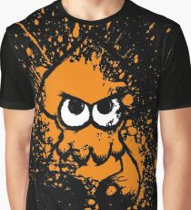 Splatoon Black Squid with Blank Eyes on Orange Splatter Mask Graphic T-Shirt