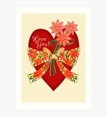 Love You! Valentine Heart with Bow Art Print