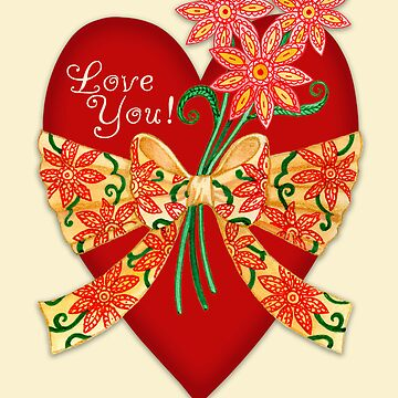 Love You! Valentine Heart with Bow by laurajholman