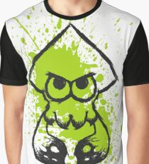 Splatoon Black Squid on Green Splatter Graphic T-Shirt
