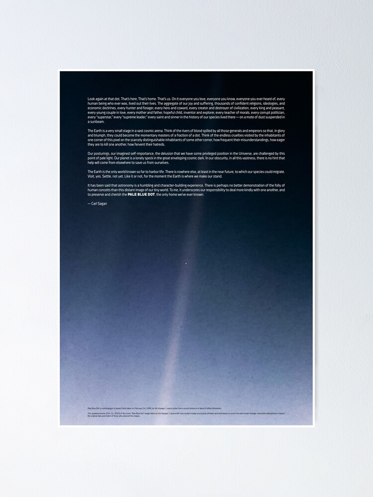 Alternate view of Pale Blue Dot — Voyager 1 ⛔ 2020 revision Poster
