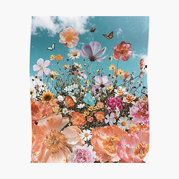 colorful flowers and butterflies Poster