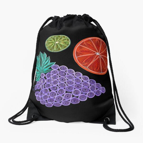 The Fruit - Grapes - Orange - Lime Drawstring Bag