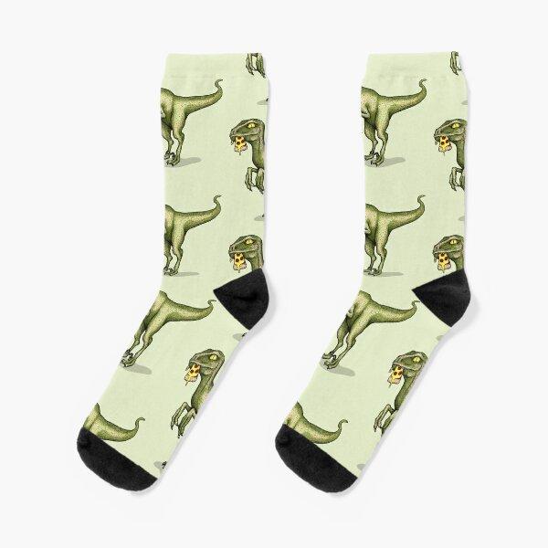 Raptor eating pizza Socks
