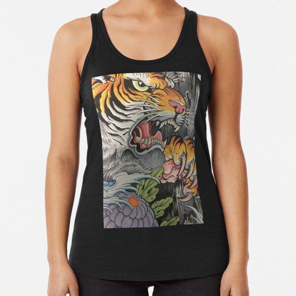 Tiger and Peony Racerback Tank Top