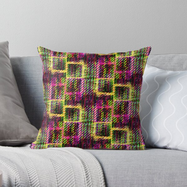 Splat Plaid - Pink Throw Pillow