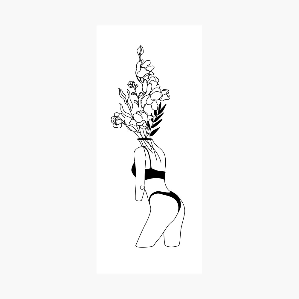 Line Art Print Female Nudity Woman With Flower Woman Line Art Minimalist Art Poster Nude Woman Wall Art Minimalist Line Poster Poster By Onelineprint Redbubble