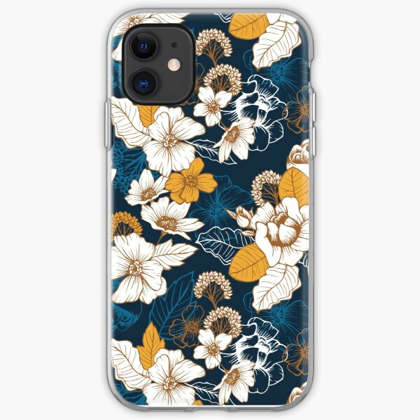 Navy and Gold Peony and Blossom Seamless Pattern iPhone Soft Case