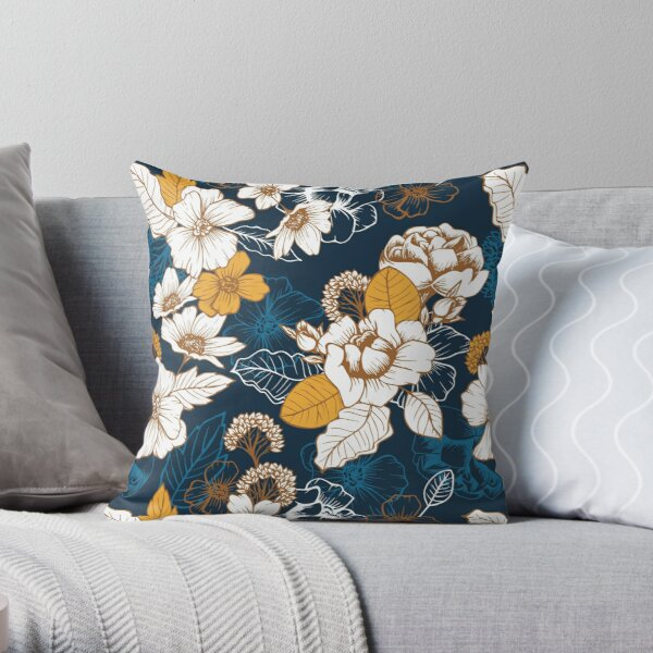 Navy and Gold Peony and Blossom Seamless Pattern Throw Pillow