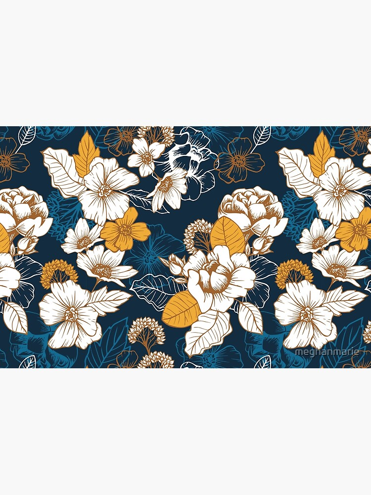 Navy and Gold Peony and Blossom Seamless Pattern by meghanmarie
