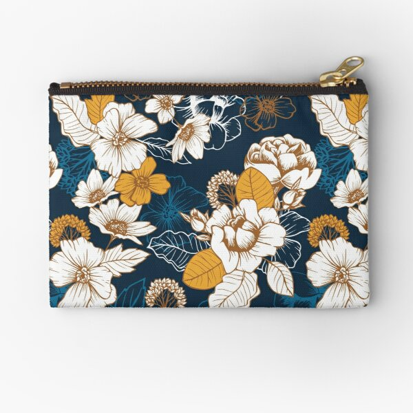Navy and Gold Peony and Blossom Seamless Pattern Zipper Pouch