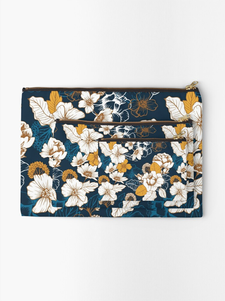 Alternate view of Navy and Gold Peony and Blossom Seamless Pattern Zipper Pouch