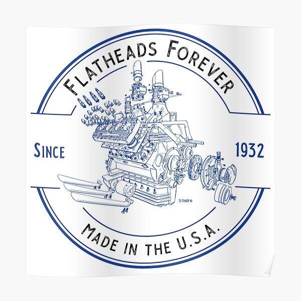 Flatheads Forever V8 Hot Rod Engine Exploded View Blue Poster