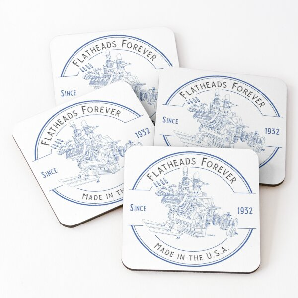 Flatheads Forever V8 Hot Rod Engine Exploded View Blue Coasters (Set of 4)