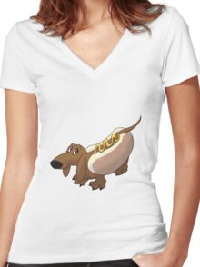 Dachshund in Hot Dog Costume Women's Fitted V-Neck T-Shirt