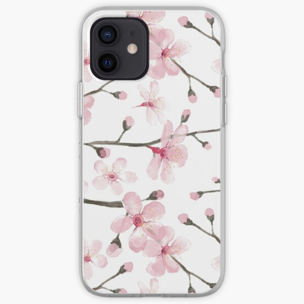 Cherry Blossom watercolor fashion and home decor by Magenta Rose Designs iPhone Soft Case