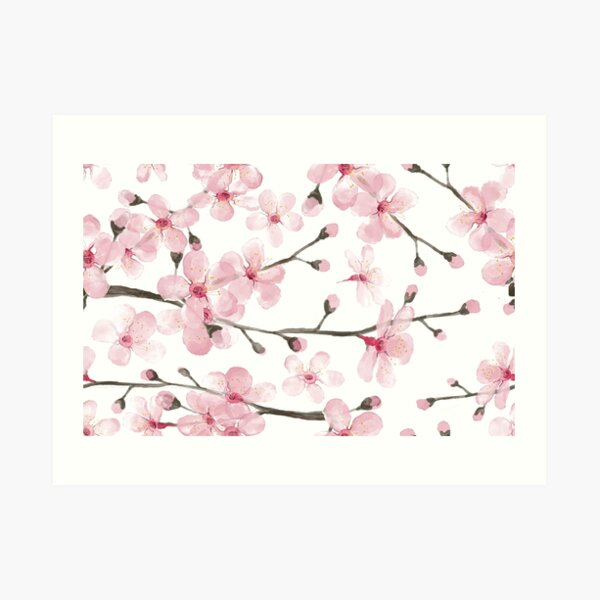 Cherry Blossom watercolor fashion and home decor by Magenta Rose Designs Art Print