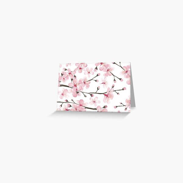 Cherry Blossom watercolor fashion and home decor by Magenta Rose Designs Greeting Card