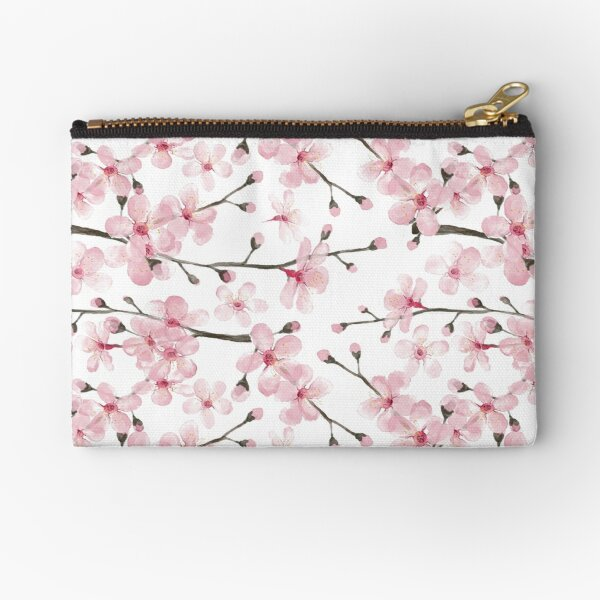 Cherry Blossom watercolor fashion and home decor by Magenta Rose Designs Zipper Pouch