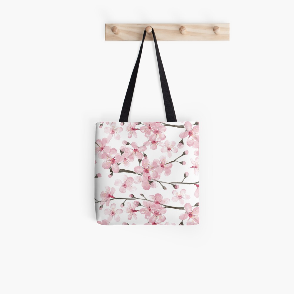 Cherry Blossom watercolor fashion and home decor by Magenta Rose Designs Tote Bag