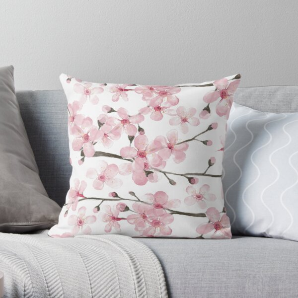 Cherry Blossom watercolor fashion and home decor by Magenta Rose Designs Throw Pillow