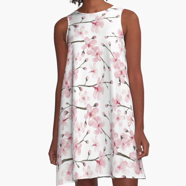Cherry Blossom watercolor fashion and home decor by Magenta Rose Designs A-Line Dress