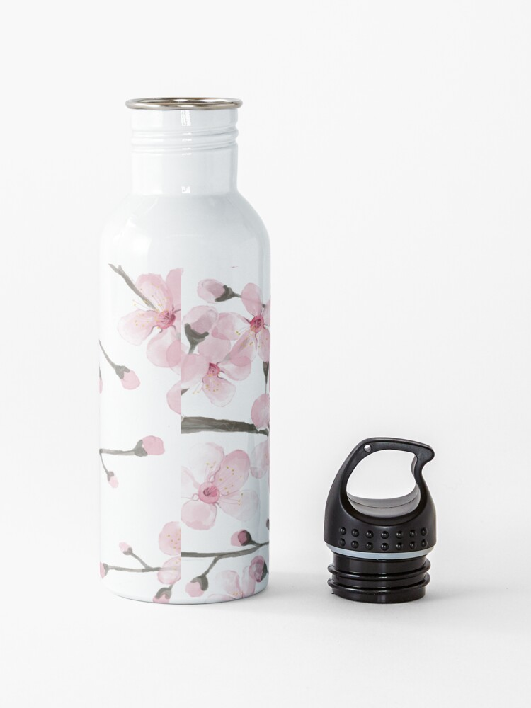 Alternate view of Cherry Blossom watercolor fashion and home decor by Magenta Rose Designs Water Bottle