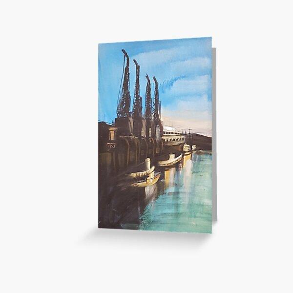 Bristol M Shed Harbour Cranes Greeting Card