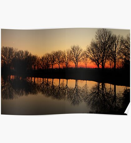 Reflections at sunset Poster