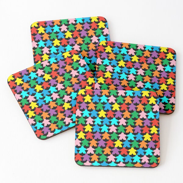 Colorful Meeples Coasters (Set of 4)