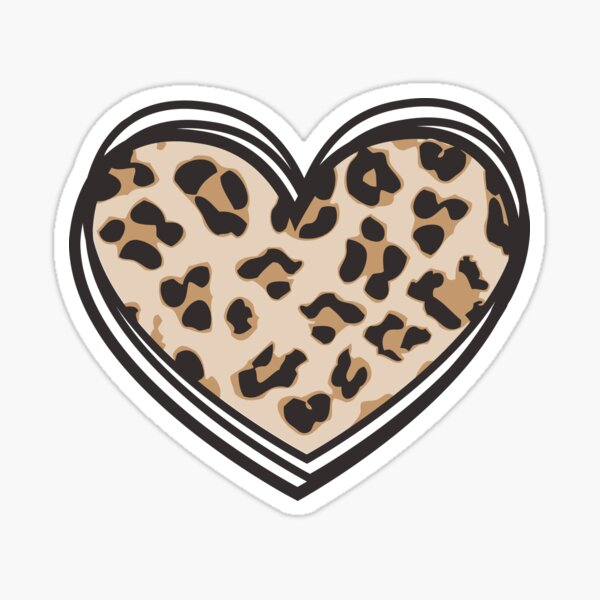 Leopard Print Heart Sticker