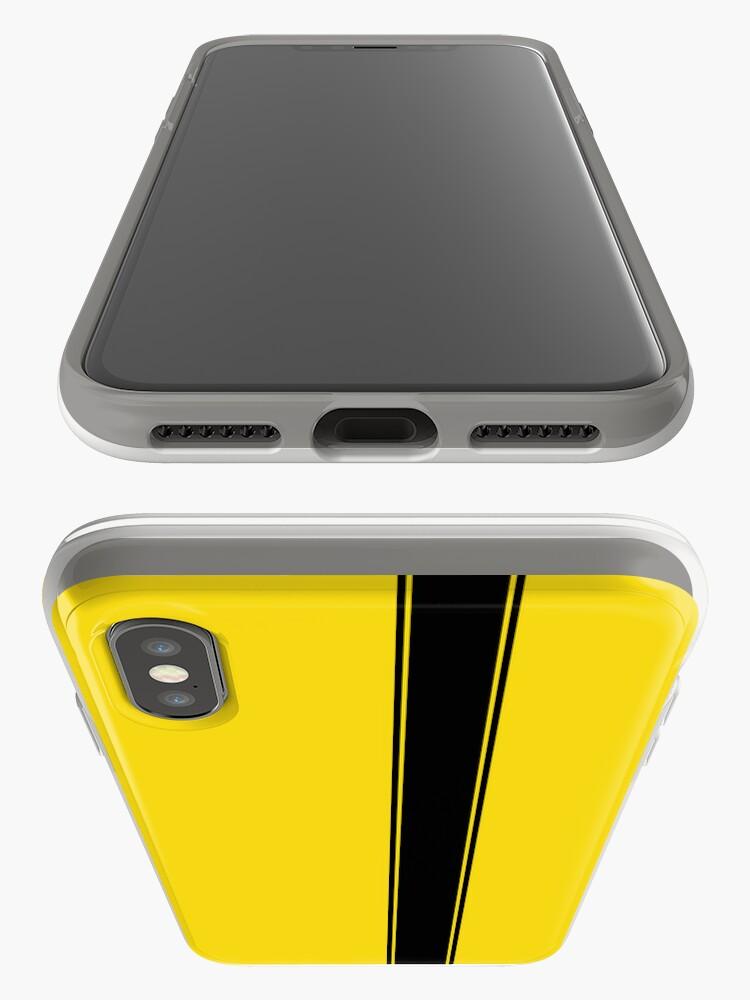 Vista alternativa de Funda y vinilo para iPhone Racing Stripe - Negro sobre amarillo