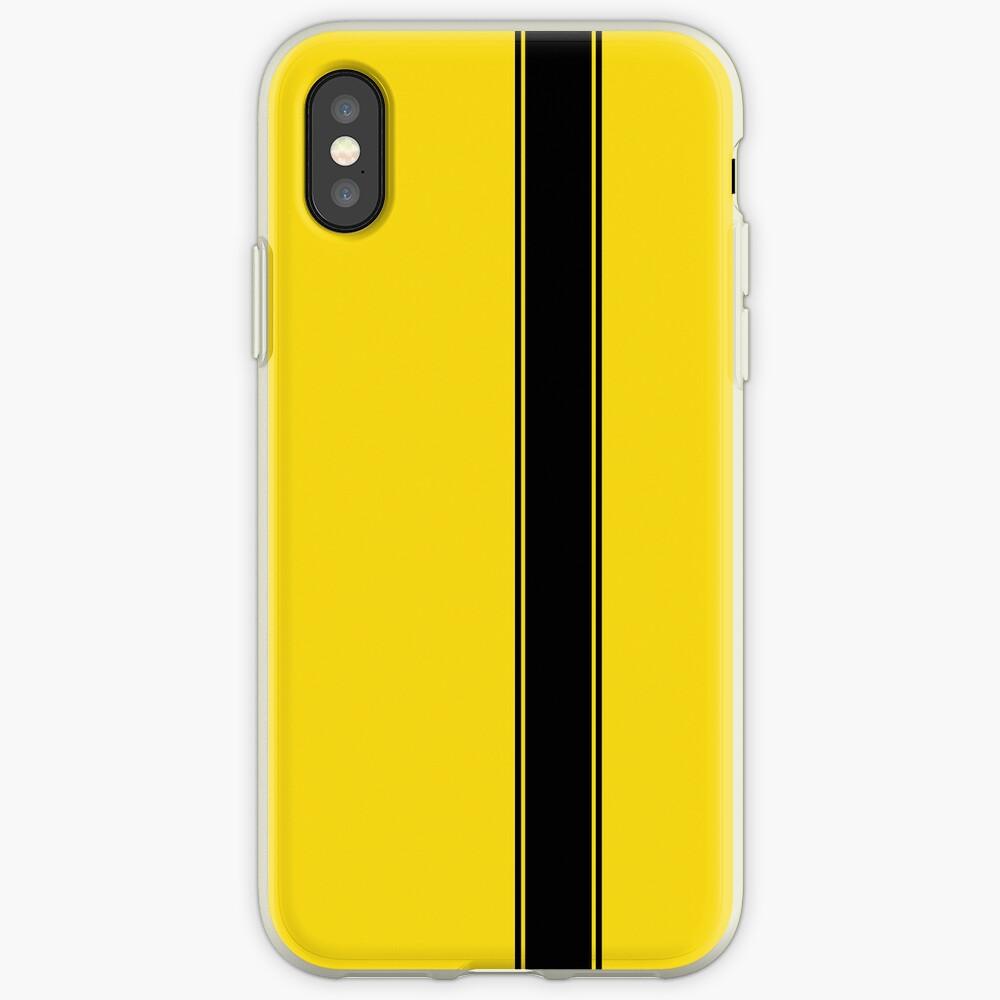Racing Stripe - Negro sobre amarillo Funda y vinilo para iPhone