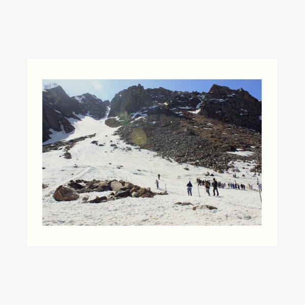 Skiing in Snow, Himalayas Art Print