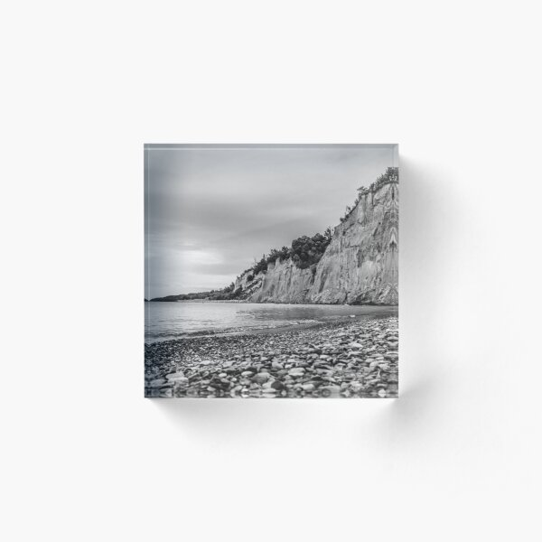 Cliffs and Shores Black and White Photograph Acrylic Block
