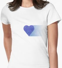 halftone heartblue fade Women's Fitted T-Shirt