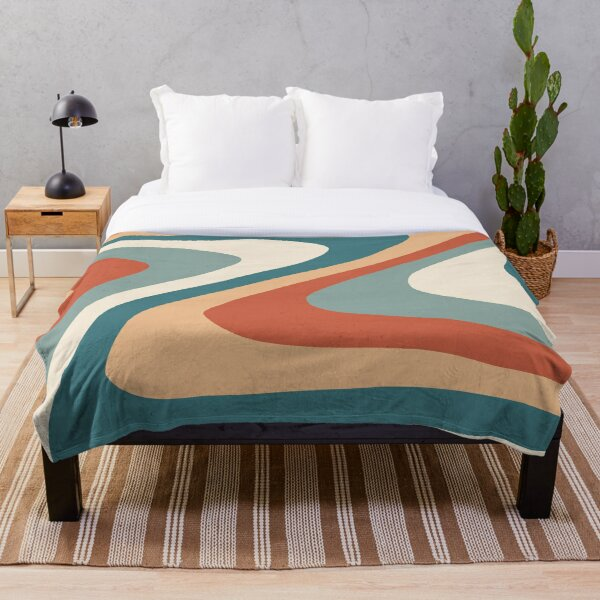 70s Retro abstract Aesthetic Throw Blanket