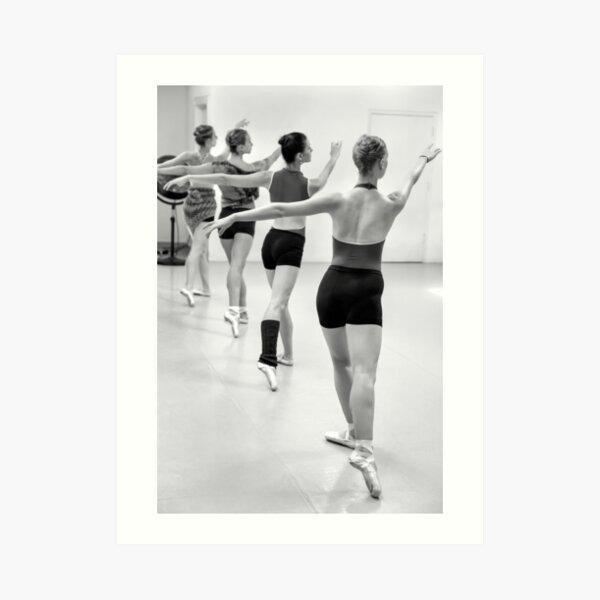 Four female dancers during a ballet rehearsal Art Print