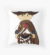 Cute Cowboy Sheriff in Poncho Throw Pillow