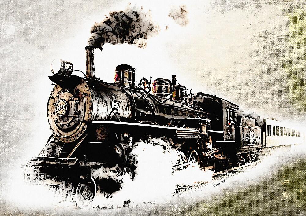 Vintage Steam Train by Abie Davis