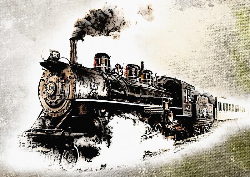 """Vintage Steam Tr... Vintage Train Poster"