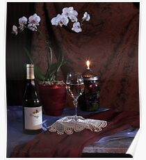 KJ Chardonnay with Orchid and Oil Lamp Poster