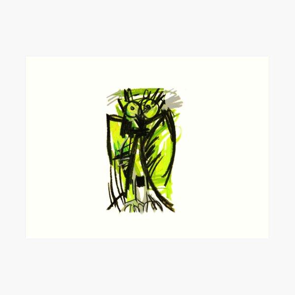 Crazy owl fluorescent Art Print