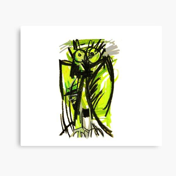 Crazy owl fluorescent Canvas Print
