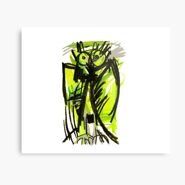 Crazy owl fluorescent Metal Print