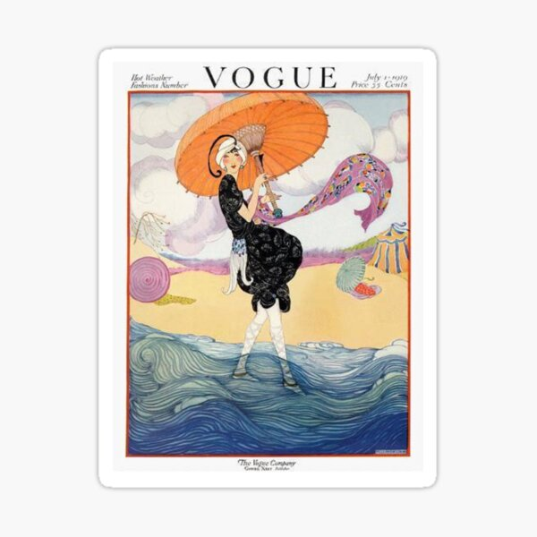 vintage vogue cover - july 1919 Glossy Sticker