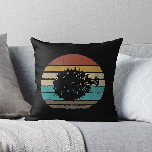 Pufferfish Retro Fish Throw Pillow
