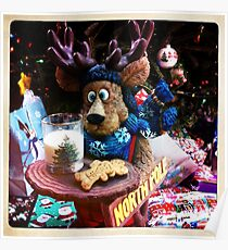 A Moose Ready With Santa's Cookies! Poster
