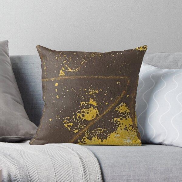Print Work Yellow   Throw Pillow